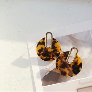 Last one Resin Tortoise Shell Hoop Dangle Earrings